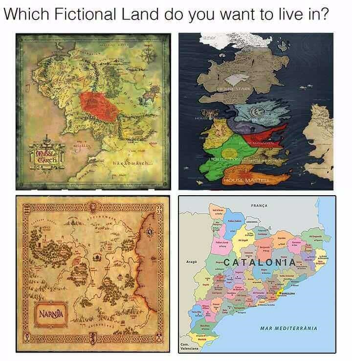history meme - Organism - Which Fictional Land do you want to live in? NDUALATARK HOE ACHU Y eetpatis SCARCH HAADATch ReOUSE MARTEEL FRANCA ANeA Cm CATALON1A Arago NARNIA Camr MAR MEDITERRANIA Com. Valenciana