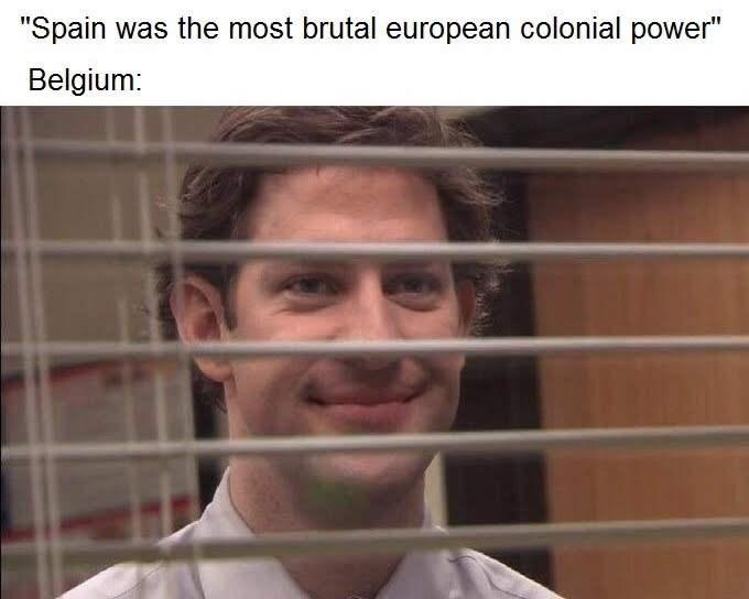 "history meme - Face - ""Spain was the most brutal european colonial power"" Belgium:"