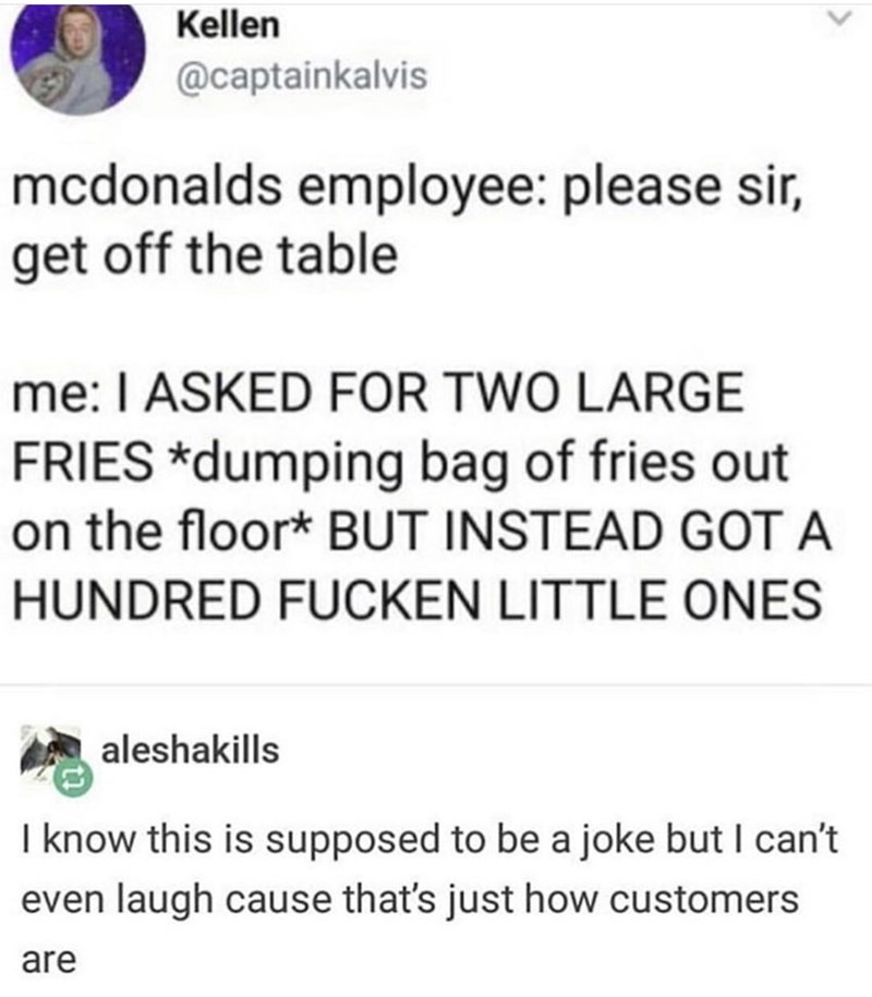 Text - Kellen @captainkalvis mcdonalds employee: please sir, get off the table me: I ASKED FOR TWO LARGE FRIES *dumping bag of fries out on the floor* BUT INSTEAD GOT A HUNDRED FUCKEN LITTLE ONES aleshakills I know this is supposed to be a joke but I can't even laugh cause that's just how customers are