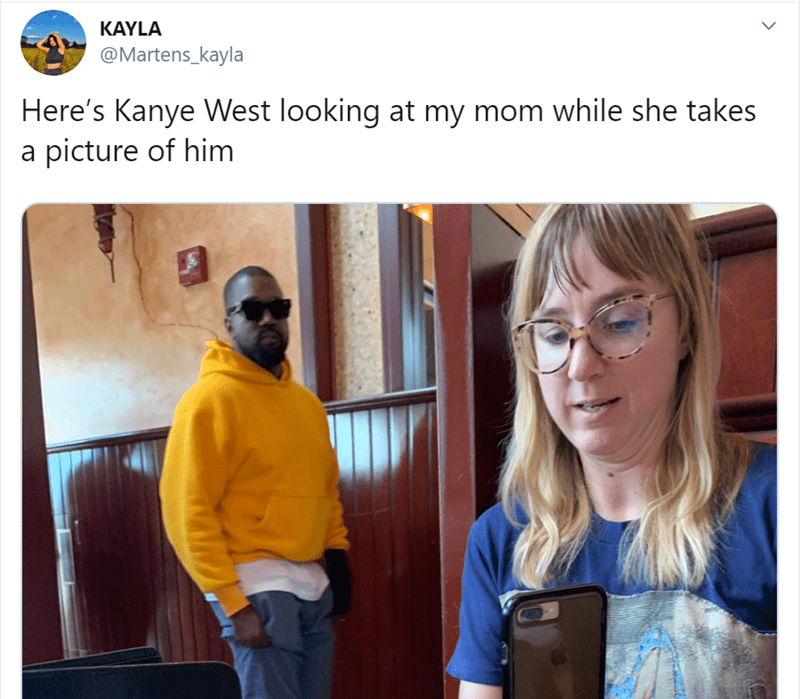 women tweet - Yellow - KAYLA @Martens_kayla Here's Kanye West looking at my mom while she takes a picture of him