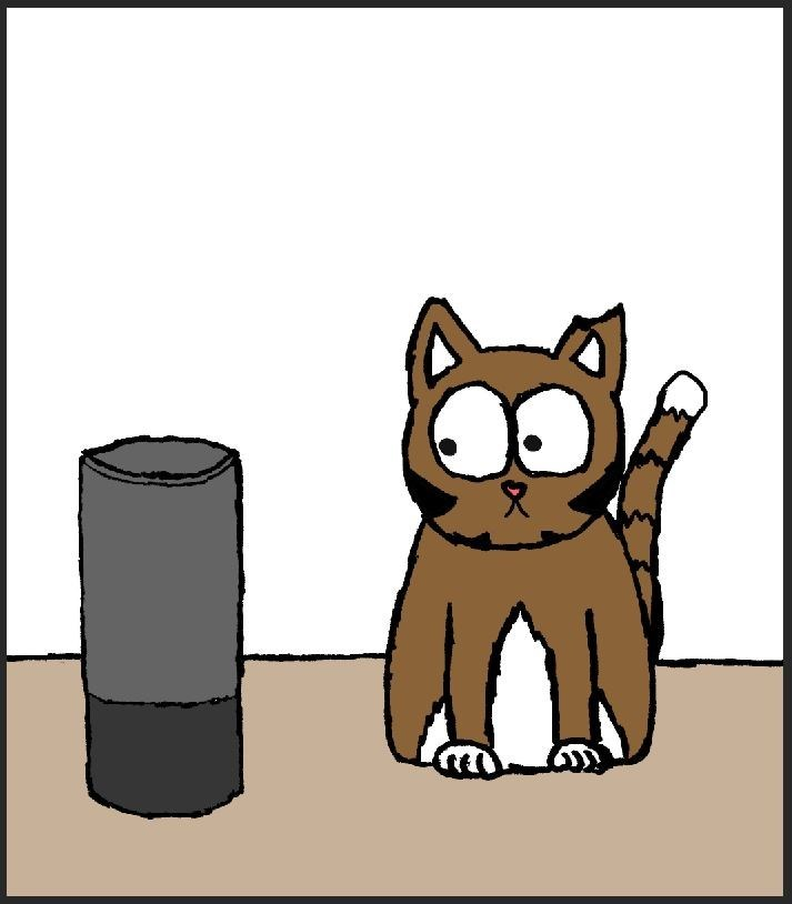 cat vs alexa - Cartoon