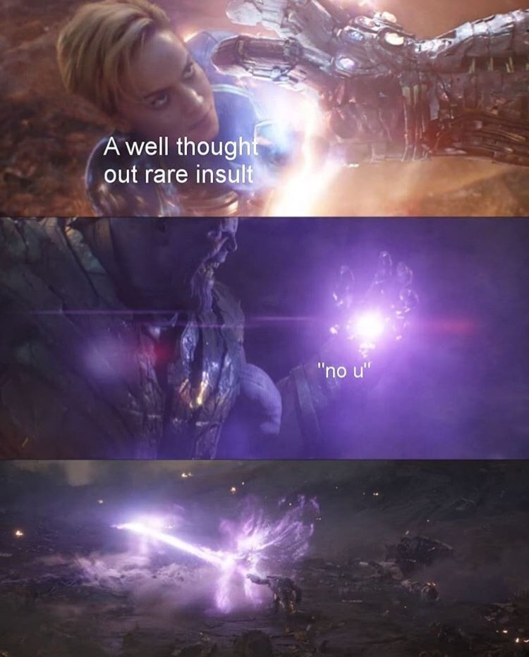 """Purple - A well thought out rare insult """"'no u"""""""