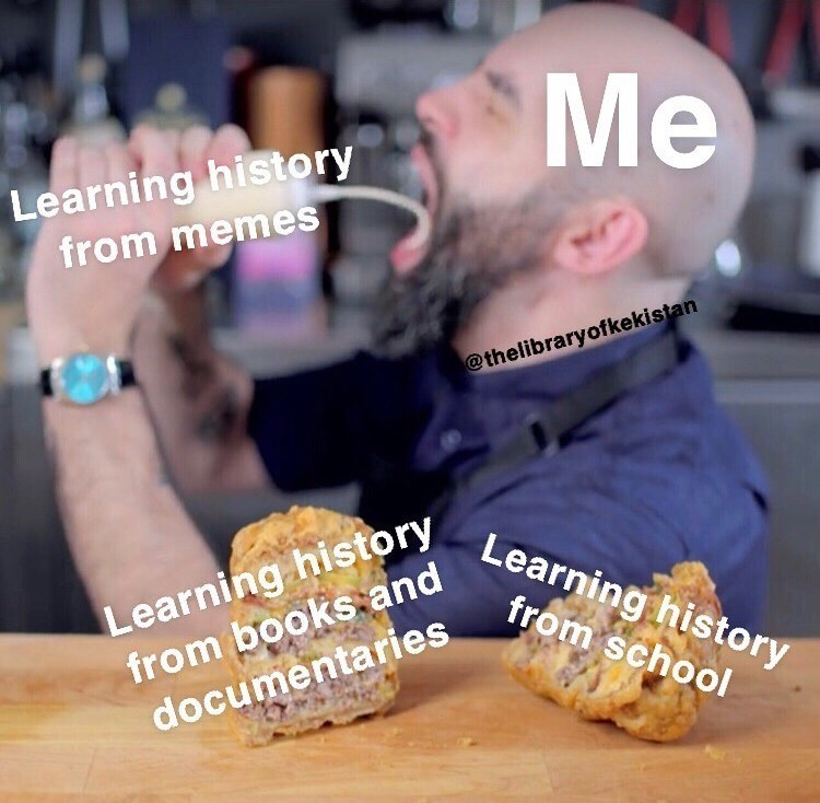 Photo caption - Me Learning history from memes @thelibraryofkekistan Learning history from booksand Learning history from school documentaries