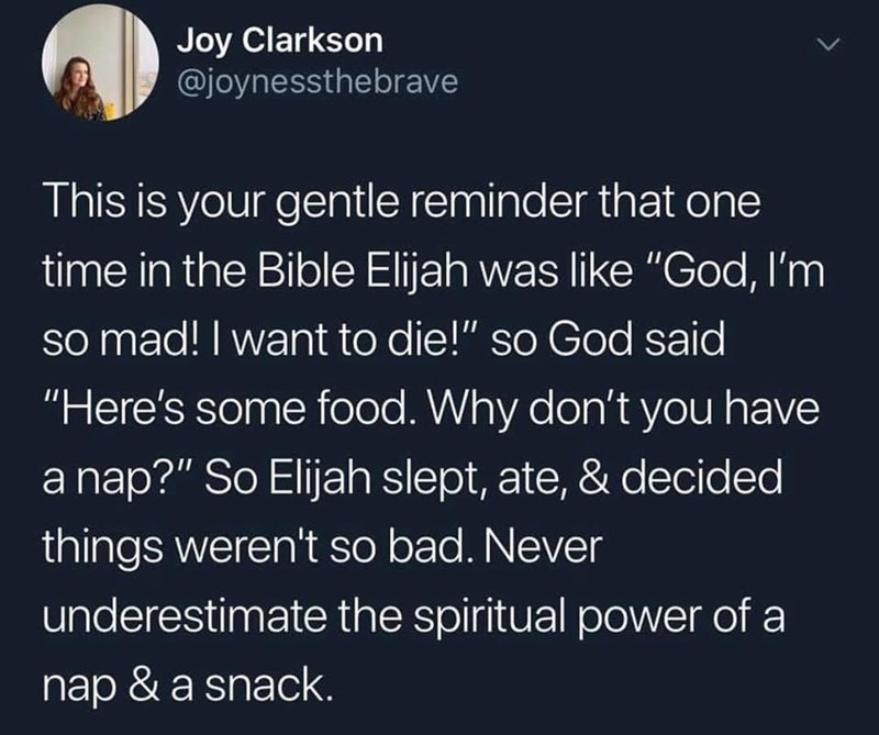 """Text - Joy Clarkson @joynessthebrave This is your gentle reminder that one time in the Bible Elijah was like """"God, I'm so mad! I want to die!"""" so God said """"Here's some food. Why don't you have a nap?"""" So Elijah slept, ate, & decided things weren't so bad. Never underestimate the spiritual power of a nap & a snack."""
