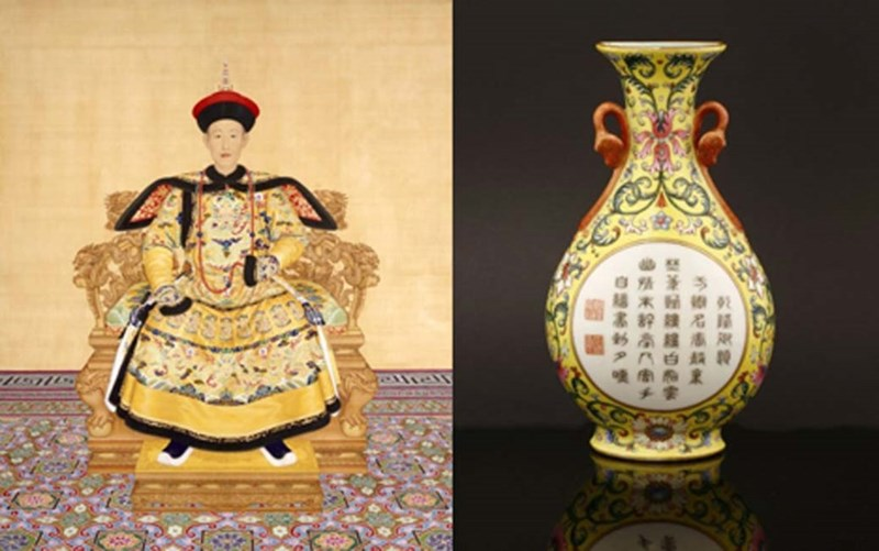 painting of the quianlong chinese emperor and a picture of a small yellow vase