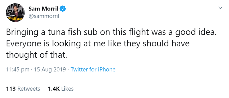 flight story - Text - Sam Morril @sammorril POSITIVE INPCUENG Bringing a tuna fish sub on this flight was a good idea. Everyone is looking at me like they should have thought of that. 11:45 pm 15 Aug 2019 Twitter for iPhone 113 Retweets 1.4K Likes
