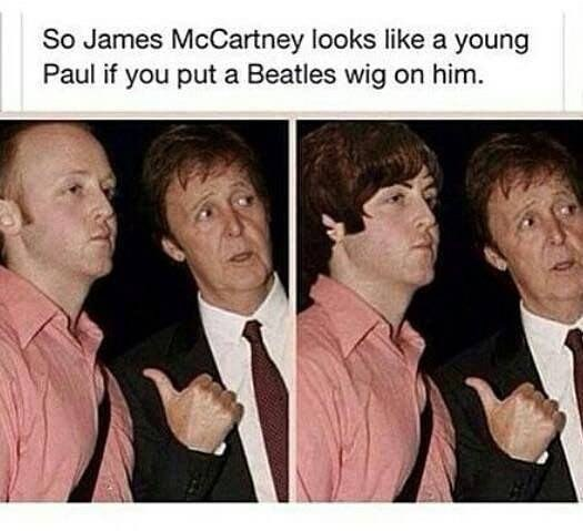 Facial expression - So James McCartney looks like a young Paul if you put a Beatles wig on him