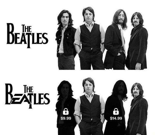 Funny meme where the 'EA' in 'The Beatles' is replaced by the logo for the game company EA