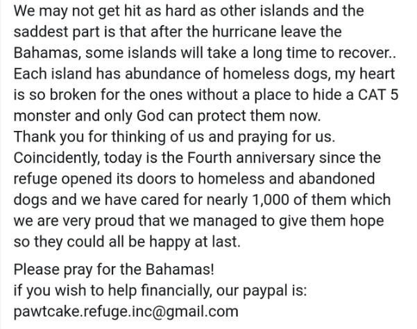 hurricane dorian dogs - Text - We may not get hit as hard as other islands and the saddest part is that after the hurricane leave the Bahamas, some islands will take a long time to recover.. Each island has abundance of homeless dogs, my heart is so broken for the ones without a place to hide a CAT 5 monster and only God can protect them now. Thank you for thinking of us and praying for us. Coincidently, today is the Fourth anniversary since the refuge opened its doors to homeless and abandoned
