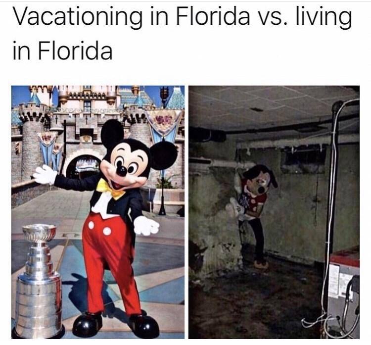 Cartoon - Vacationing in Florida vs. living in Florida