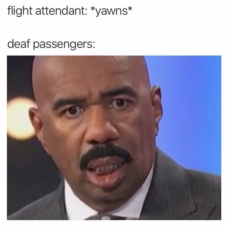 Face - flight attendant: *yawns* deaf passengers: