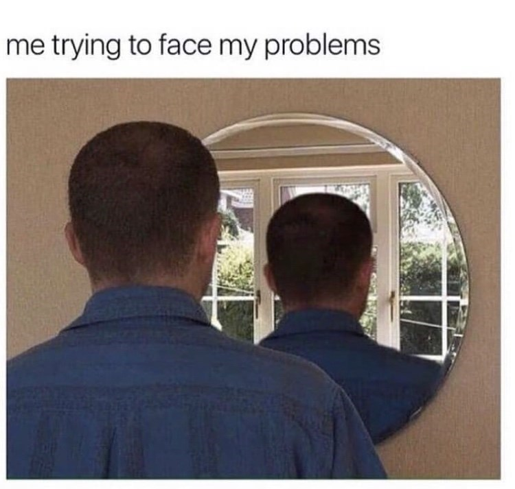 Photo caption - me trying to face my problems