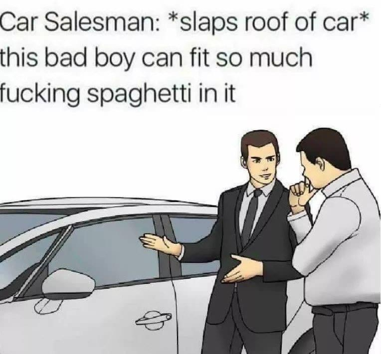 Motor vehicle - Car Salesman: *slaps roof of car* this bad boy can fit so much fucking spaghetti in it