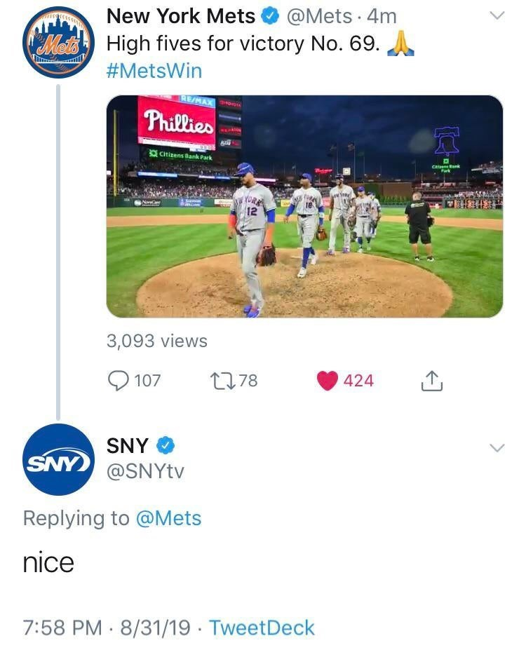 "Tweet from the New York Mets that reads, ""High fives for victory No. 69;"" SNY replies below, ""Nice"""