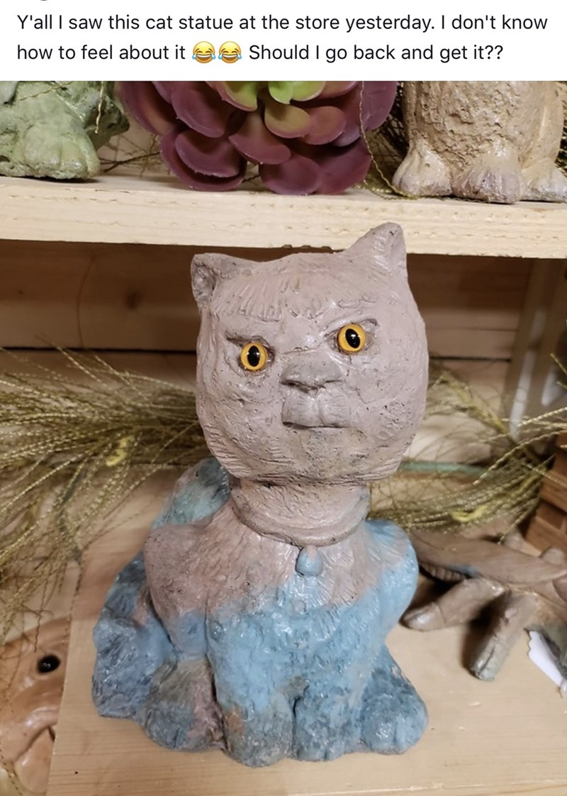 "Funny meme that reads, ""Y'all I saw this cat statue at the store yesterday. I don't know how to feel about it. Should I go back and get it??"" above a photo of a creepy cat statue"