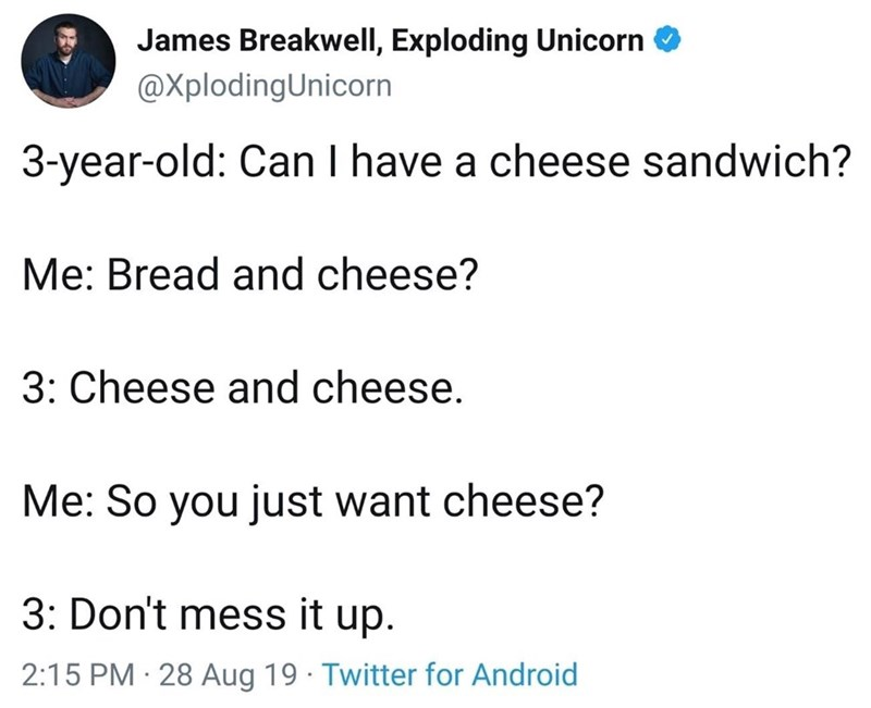 Text - James Breakwell, Exploding Unicorn @XplodingUnicorn 3-year-old: Can I have a cheese sandwich? Me: Bread and cheese? 3: Cheese and cheese. Me: So you just want cheese? 3: Don't mess it up. 2:15 PM 28 Aug 19 Twitter for Android