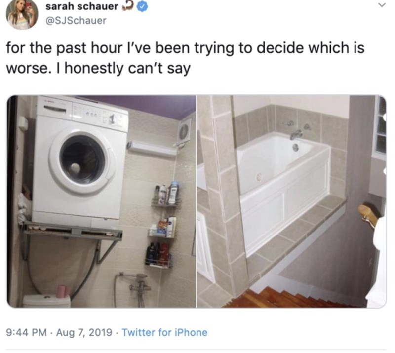 Laundry room - sarah schauer @SJSchauer for the past hour I've been trying to decide which is worse. I honestly can't say 9:44 PM Aug 7, 2019 Twitter for iPhone