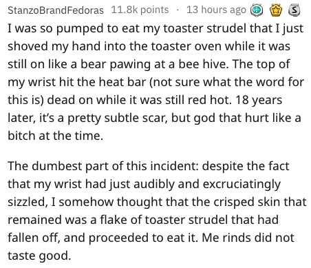 Text - StanzoBrandFedoras 11.8k points 13 hours ago I was so pumped to eat my to aster strudel that I just shoved my hand into the toaster oven while it was still on like a bear pawing at a bee hive. The top of my wrist hit the heat bar (not sure what the word for this is) dead on while it was still red hot. 18 years later, it's a pretty subtle scar, but god that hurt like a bitch at the time. The dumbest part of this incident: despite the fact that my wrist had just audibly and excruciatingly s