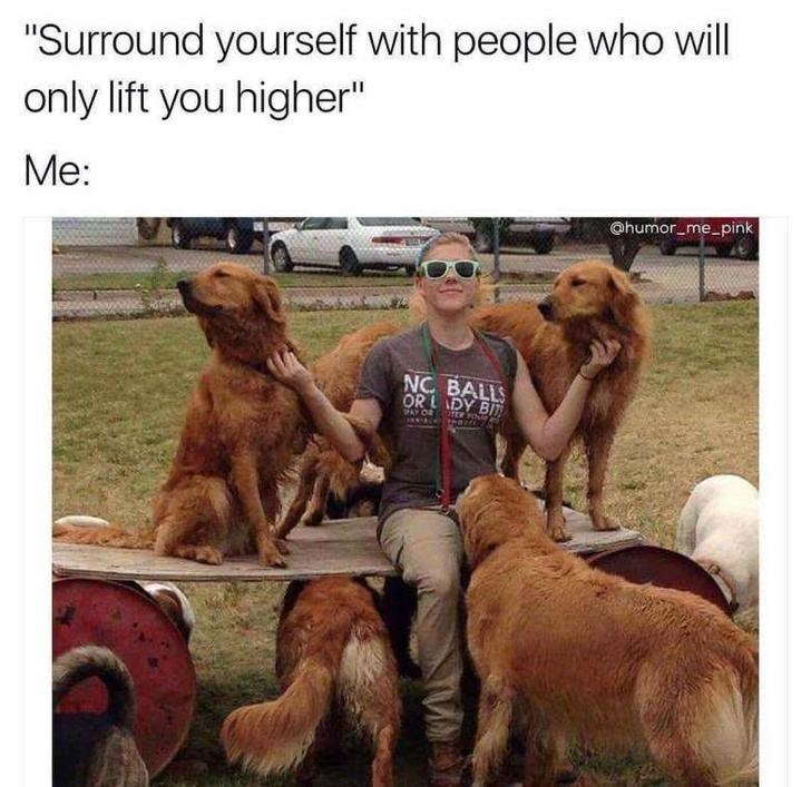 """Dog - """"Surround yourself with people who will only lift you higher"""" Me: @humor me pink NC BALLS ORLDY BIT ER FO PAY OR"""
