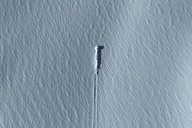 picture crashed object in the snow from google earth
