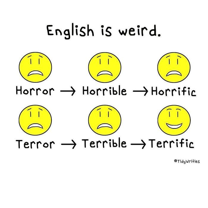 Yellow - English is weird Horror Horrible Horrific Terror Terrible ->Terrific @TidyWrities