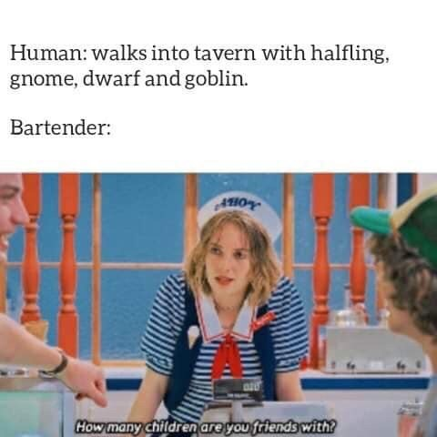 d&d meme - Photo caption - Human: walks into tavern with halfling, gnome, dwarf and goblin Bartender: AHO How many Children are you friends with?