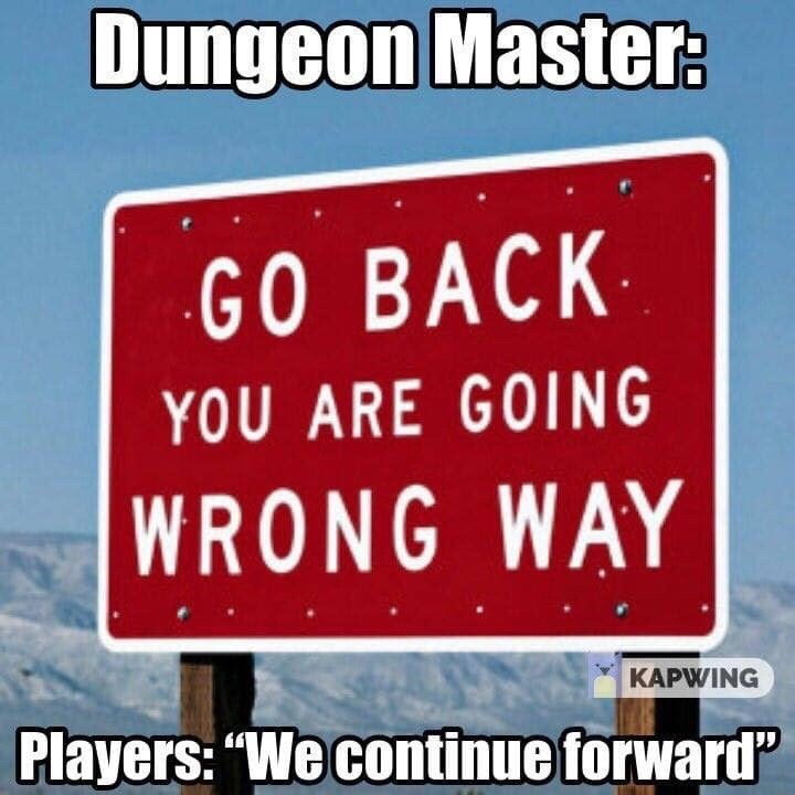 "d&d meme - Text - Dungeon Master: GO BACK YOU ARE GOING WRONG WAY KAPWING Players: ""We continue forward"
