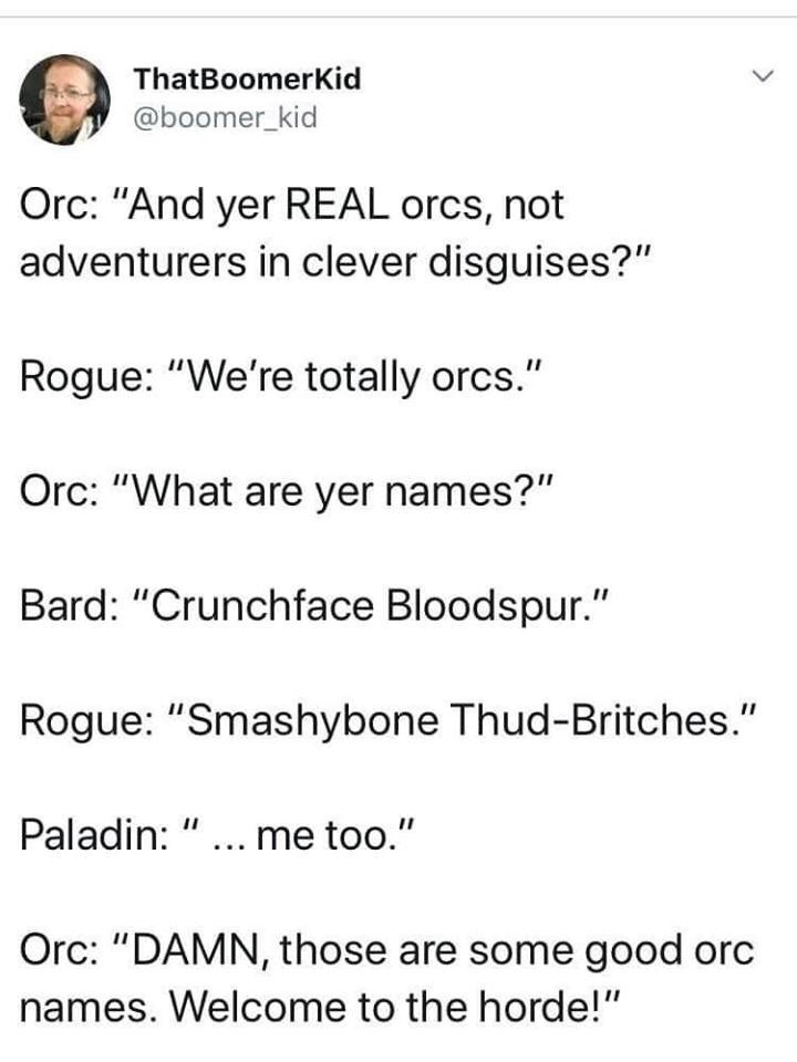 "d&d meme - Text - ThatBoomerKid @boomer_kid Orc: ""And yer REAL orcs, not adventurers in clever disguises?"" Rogue: ""We're totally orcs."" Orc: ""What are yer names?"" Bard: ""Crunchface Bloodspur."" Rogue: ""Smashybone Thud-Britches."" Paladin: "".. me too."" Orc: ""DAMN, those are some good orc names. Welcome to the horde!"""