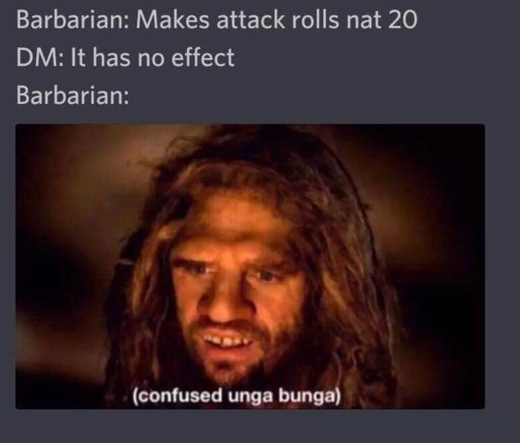 d&d meme - Hair - Barbarian: Makes attack rolls nat 20 DM: It has no effect Barbarian: (confused unga bunga)
