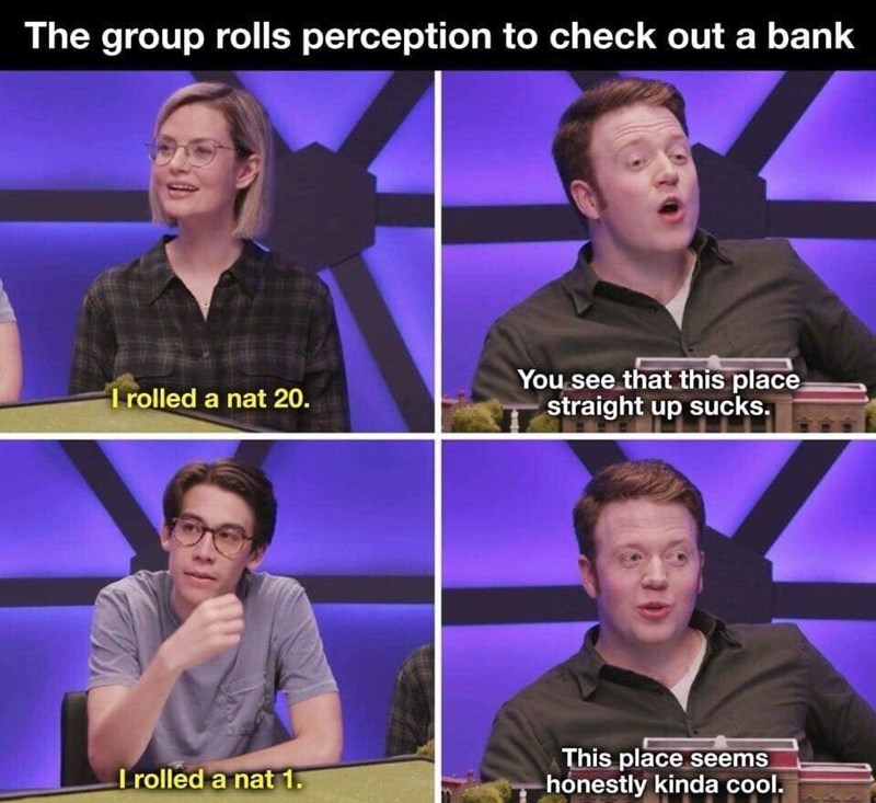 d&d meme - Media - The group rolls perception to check out a bank You see that this place straight up sucks. I rolled a nat 20. This place seems honestly kinda cool. I rolled a nat 1
