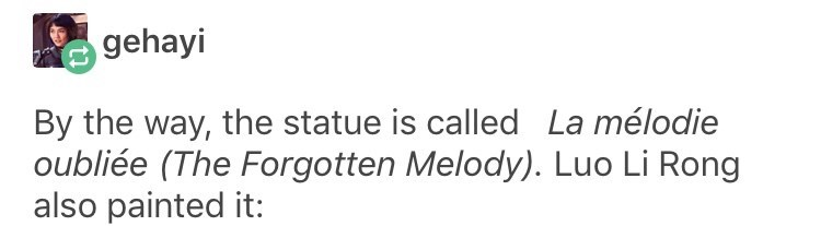 sexist - Text - gehayi By the way, the statue is called La mélodie oubliée (The Forgotten Melody). Luo Li Rong also painted it: