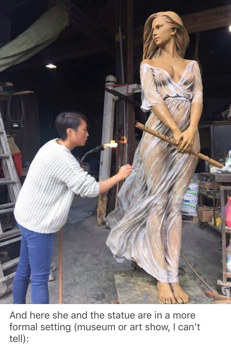 sexist - Fashion - And here she and the statue are in a more formal setting (museum or art show, I can't tell)