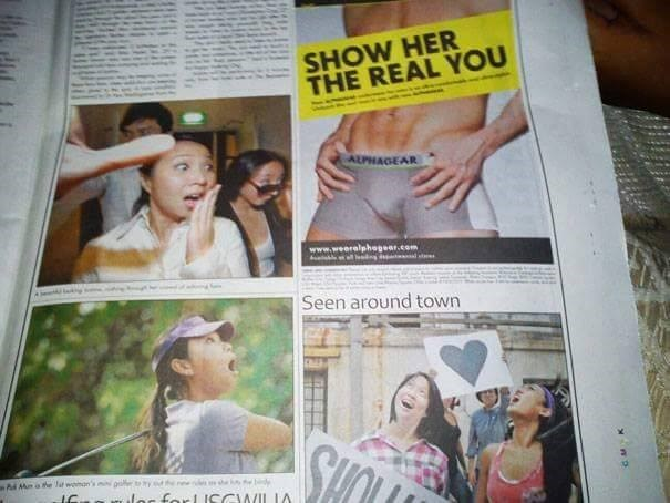 funny advertisement - Publication - SHOW HER THE REAL YOU ALPHAGEAR www.weeralphegear.com Seen around town Me a he lat woman's g toyde e d lar forl CCWILIA