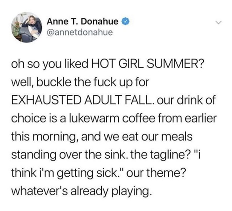 "Text - Anne T. Donahue @annetdonahue oh so you liked HOT GIRL SUMMER? well, buckle the fuck up for EXHAUSTED ADULT FALL. our drink of choice is a lukewarm coffee from earlier this morning, and we eat our meals standing over the sink. the tagline? ""i think i'm getting sick."" our theme? whatever's already playing."