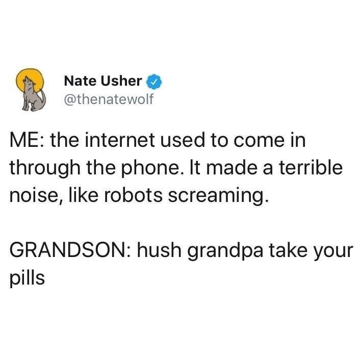Text - Nate Usher @thenatewolf ME: the internet used to come in through the phone. It made a terrible noise, like robots screaming. GRANDSON: hush grandpa take your pills