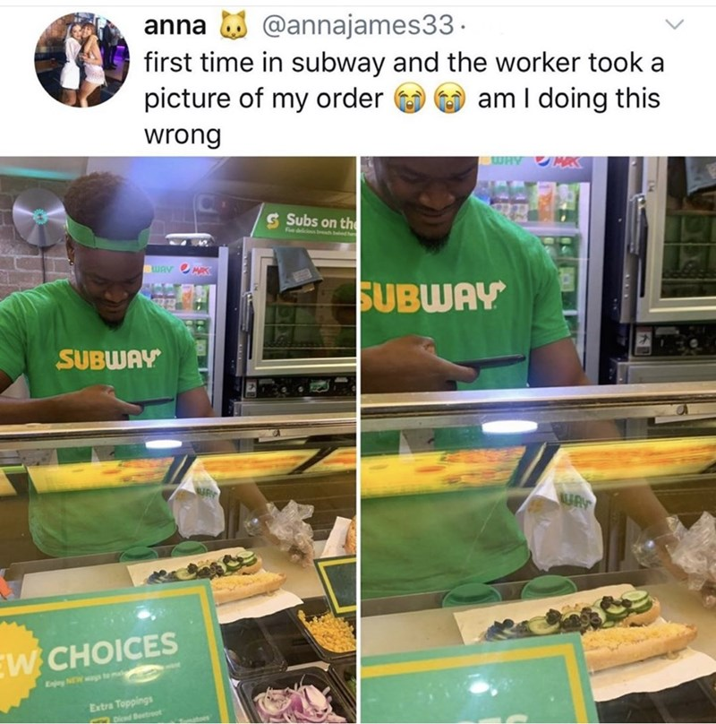 Plant - @annajames33 anna first time in subway and the worker took a picture of my order am I doing this wrong WHY MAS S Subs on th Fdelicios bh WAY MRK SUBWAY SUBWAY W CHOICES Enjoy NEWa te m Extra Toppings pieed Beetroot toe