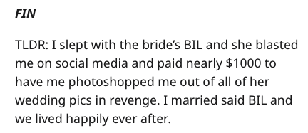 Text - FIN TLDR: I slept with the bride's BIL and she blasted me on social media and paid nearly $1000 to have me photoshopped me out of all of her wedding pics in revenge. I married said BIL and we lived happily ever after.