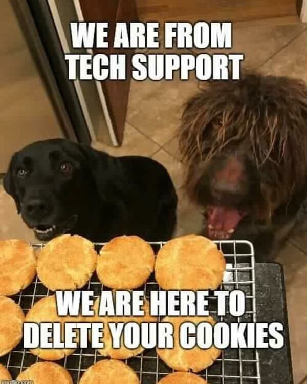 meme - Dog - WE ARE FROM TECH SUPPORT WEARE HERE TO DELETE YOUR COOKIES mat o Com