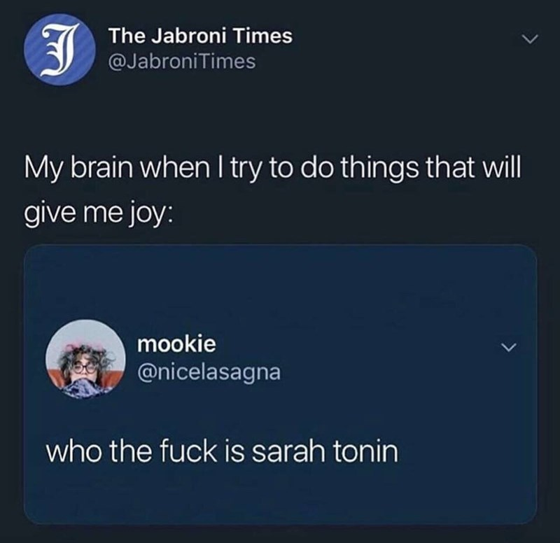 meme - Text - The Jabroni Times @JabroniTimes My brain when I try to do things that will give me joy: mookie @nicelasagna L who the fuck is sarah tonin