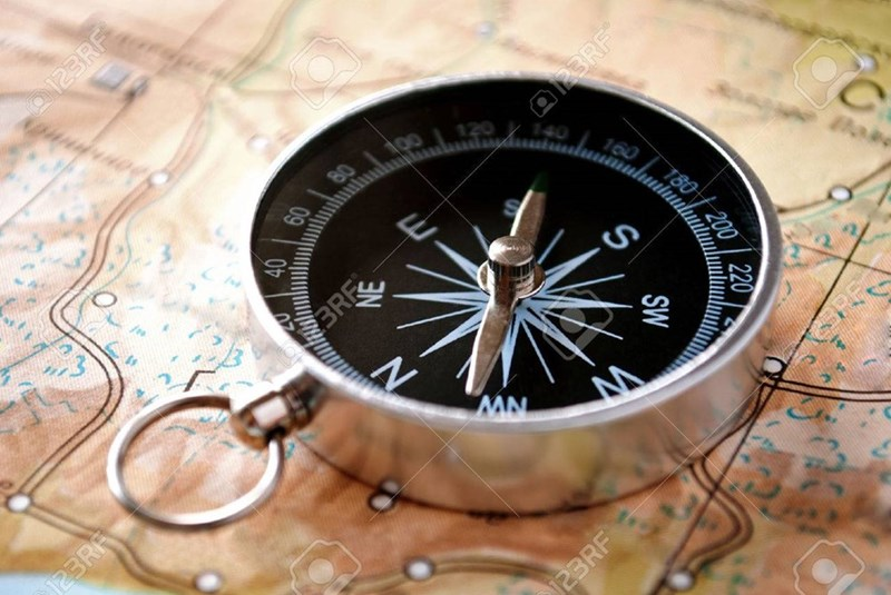 picture compass sitting on map