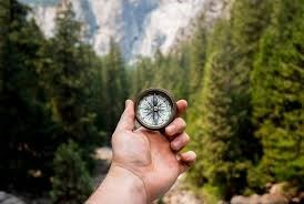 person's hand holding a compass in nature