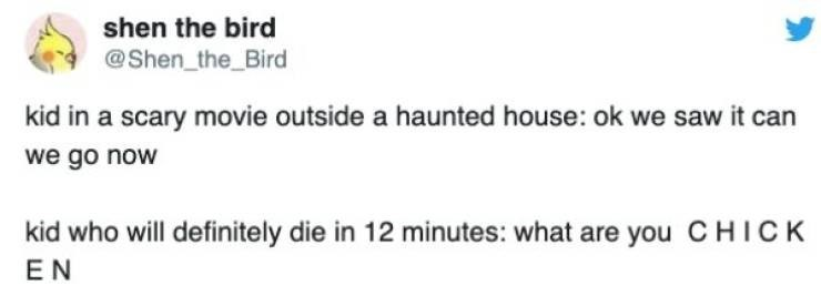 Text - shen the bird @Shen_the_Bird kid in a scary movie outside a haunted house: ok we saw it can we go now kid who will definitely die in 12 minutes: what are you CHICK EN