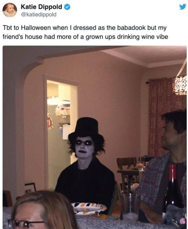 Headgear - Katie Dippold @katiedippold Tbt to Halloween when I dressed as the babadook but my friend's house had more of a grown ups drinking wine vibe