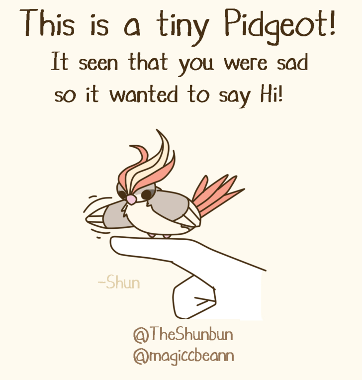 Text - This is a tiny Pidgeot! It seen that you were sad so it wanted to say Hi! Shun @TheShunbun @magiccbeann
