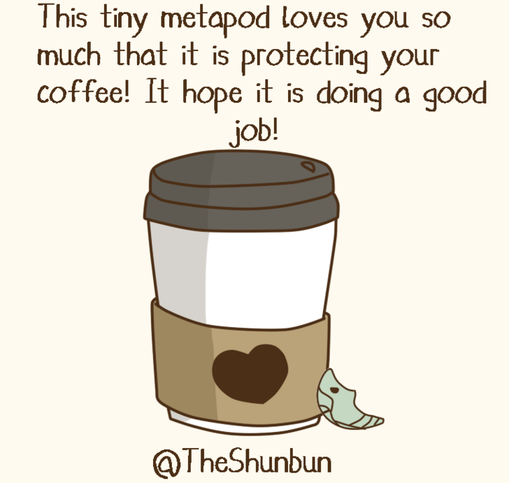 Clip art - This tiny metapod loves you so much that it is protecting your coffee! It hope it is doing a good job! @TheShunbun