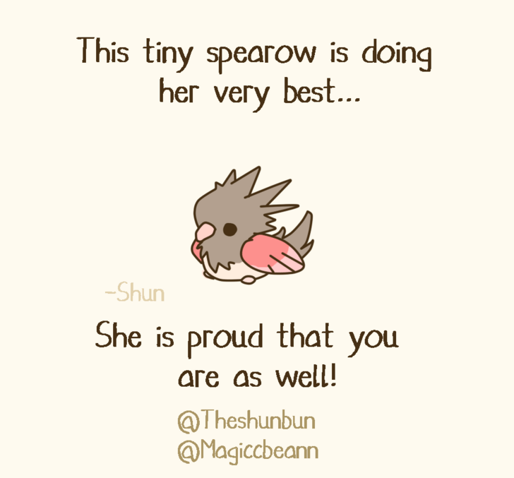 Text - This tiny spearow is doing her very best... Shun She is proud that you are as well! @Theshunbun @Magiccbeann