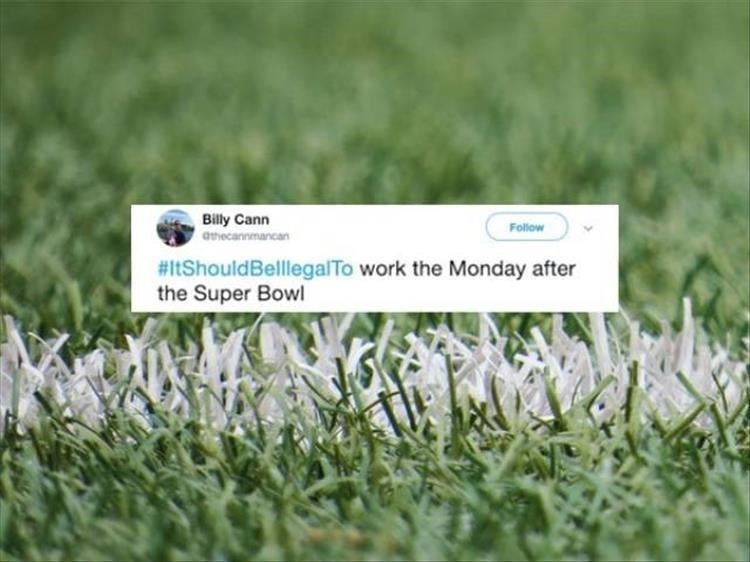 Grass - Billy Cann Follow atecannmancan #ItShouldBelllegalTo work the Monday after the Super Bowl