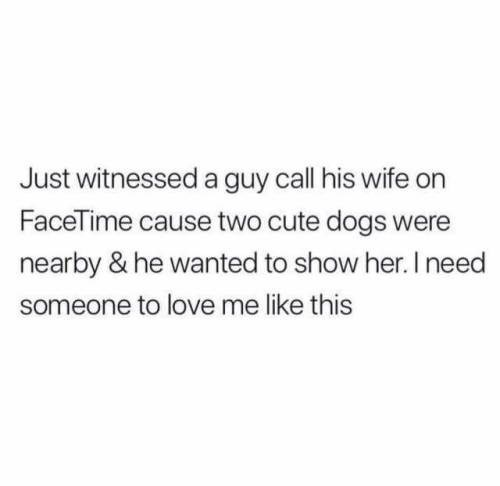 Text - Just witnessed a guy call his wife on FaceTime cause two cute dogs were nearby & he wanted to show her. I need someone to love me like this