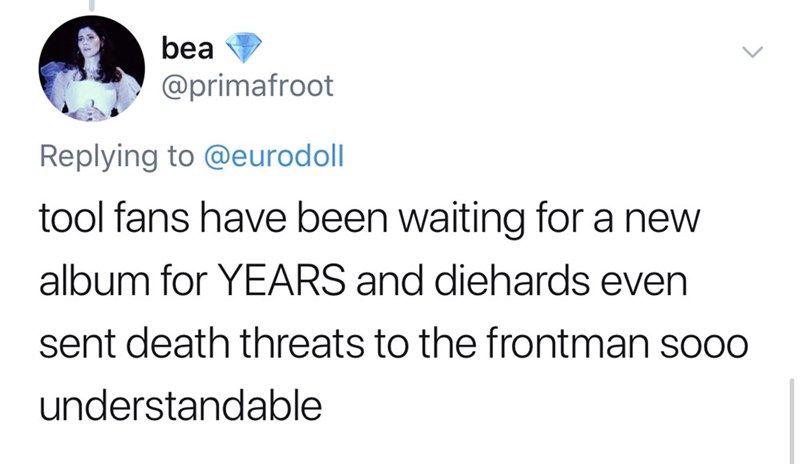 tool lana del rey - Text - bea @primafroot Replying to @eurodoll tool fans have been waiting for a new album for YEARS and diehards even sent death threats to the frontman soo0 understandable
