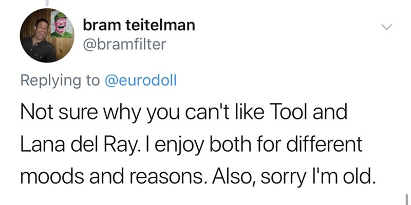 tool lana del rey - Text - bram teitelman @bramfilter Replying to @eurodoll Not sure why you can't like Tool and Lana del Ray. I enjoy both for different moods and reasons. Also, sorry l'm old.
